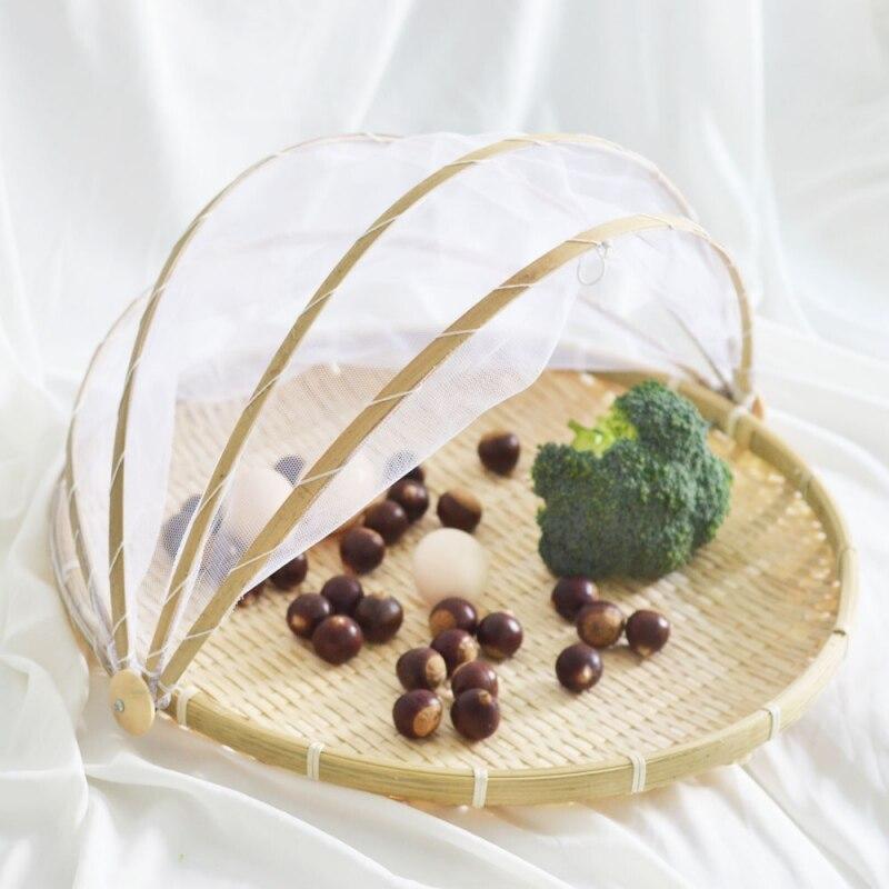 XHand-Woven bambú comida servir cesta para tienda bandeja frutas verduras pan almacenamiento cesta servir comida pícnic al aire libre cubierta de red de malla