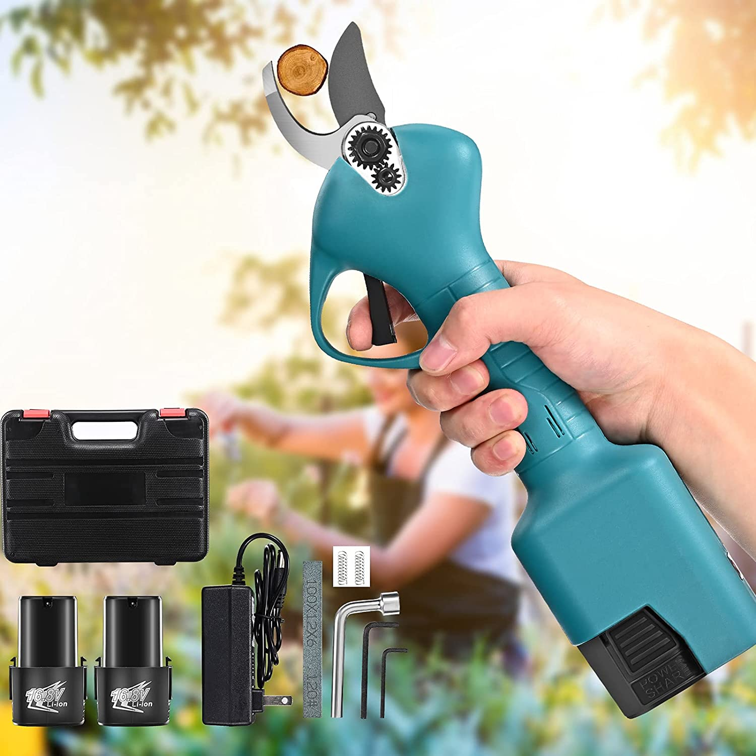 Rechargeable Electric Hedge Trimmer Pruning Shears 110V 220V Cordless Pruning Shears 25mm Tree Branch Pruner Cutter Garden Tool
