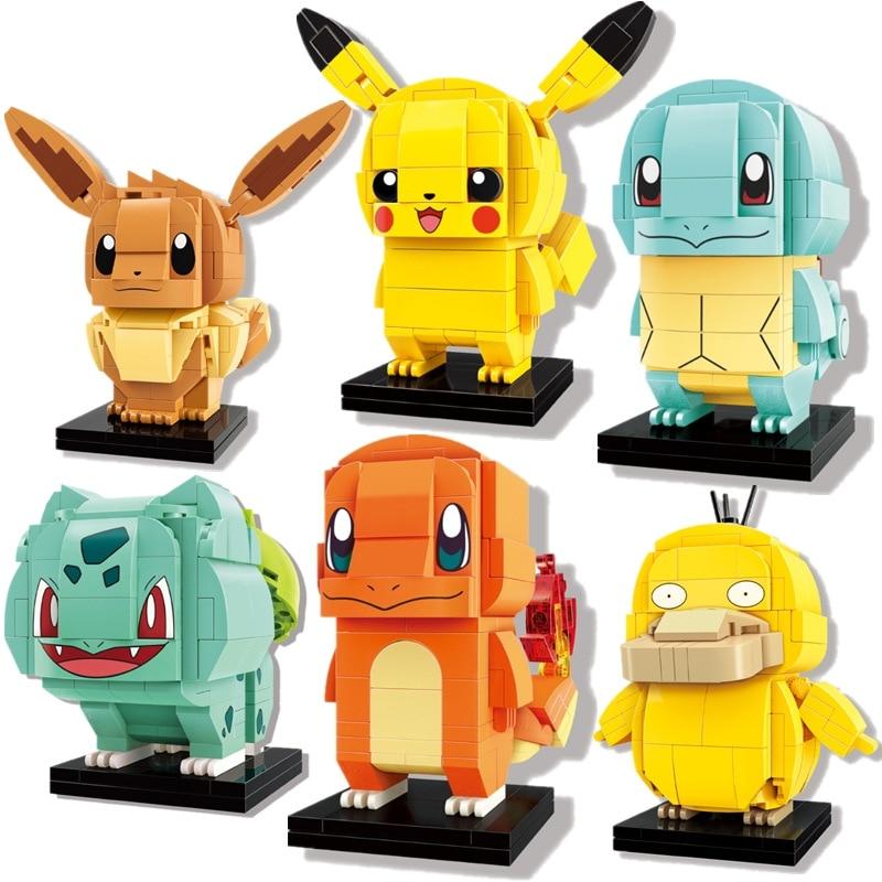 Конструктор BrickHeadz Pokemon эльф, Пикачу Ball Pocket Monsters, набор кирпичей, Классические куклы из аниме, модели, детские Мультяшные игрушки