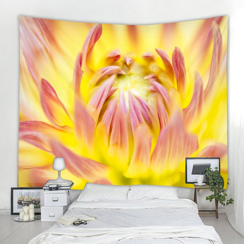 Nordic Blossom Flower Decoration Tapestry Bohemian Hippie Wall Art Deco Curtain Bedroom Mandala