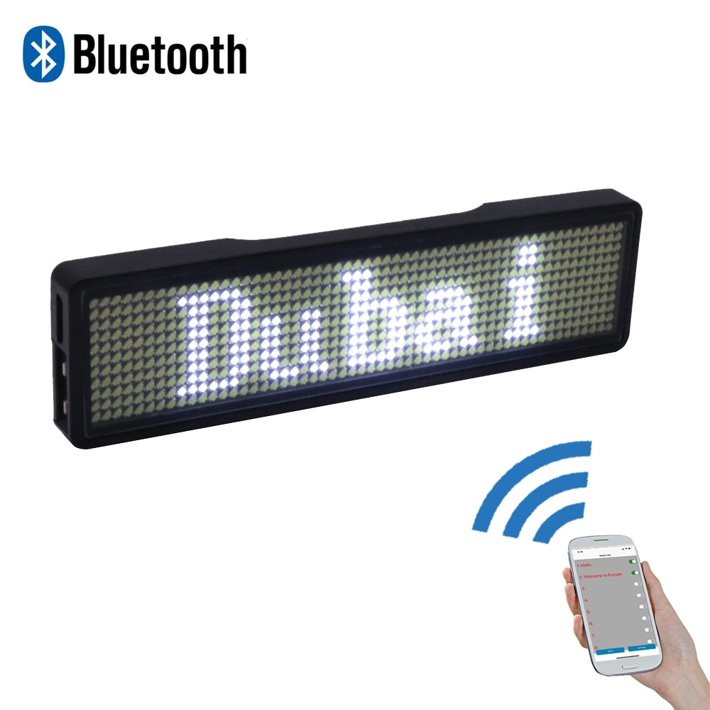 Bluetooth digital LED badge DIY programmable scrolling message mini LED display party event clear 11