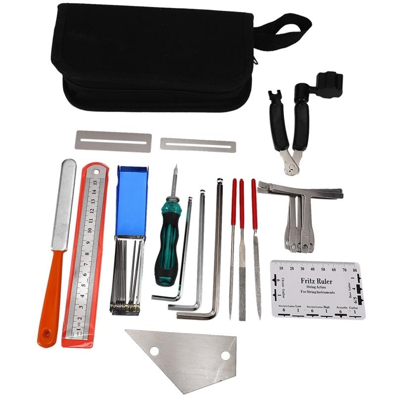 Guitar Tool Kit Repairing Maintenance Tools String Organizer String Action Ruler Gauge Measuring Tool Hex Wrench Set Files Finge enlarge
