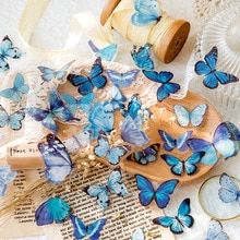 40 PCS Vintage Butterfly PET Stickers Butterflies Resin Decals for Scrapbook DIY Crafts Journal Laptops Stationery