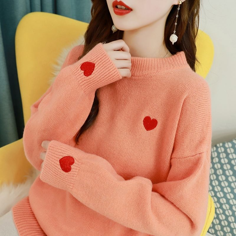 Embroidered love sweater women 2021 new fall/winter pullover loose outer wear lazy style wild knitted bottoming shirt top trend