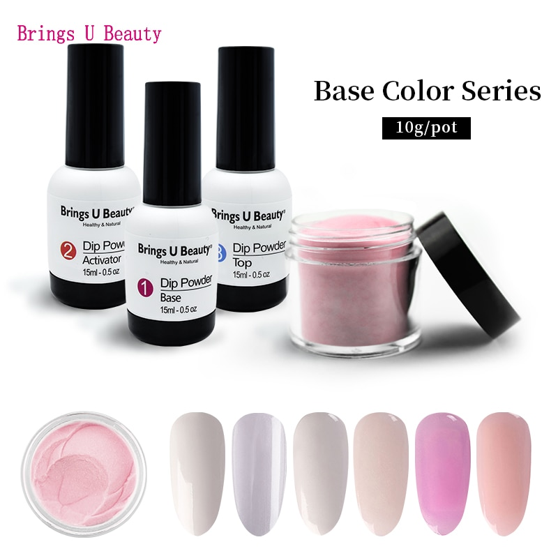 Very Fine 10g/Box Base Colors French Nail Design Dipping Powder Clear White No Lamp Cure Nails Dip Powder Nail Gel Natural Dry