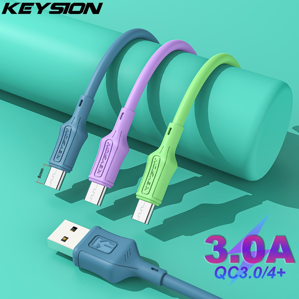 KEYSION 8mm USB Cable Fast Charging Type C Cable for Samsung A52 Charger Data Charge USB C Cable for
