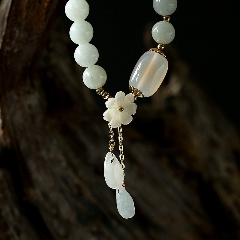 Natural Jade Emerald Agate Beads Bracelet Adjustable Bangle Charm Jewelry Yoga Water Drop Shell Flower Pendant Bracelet Woman