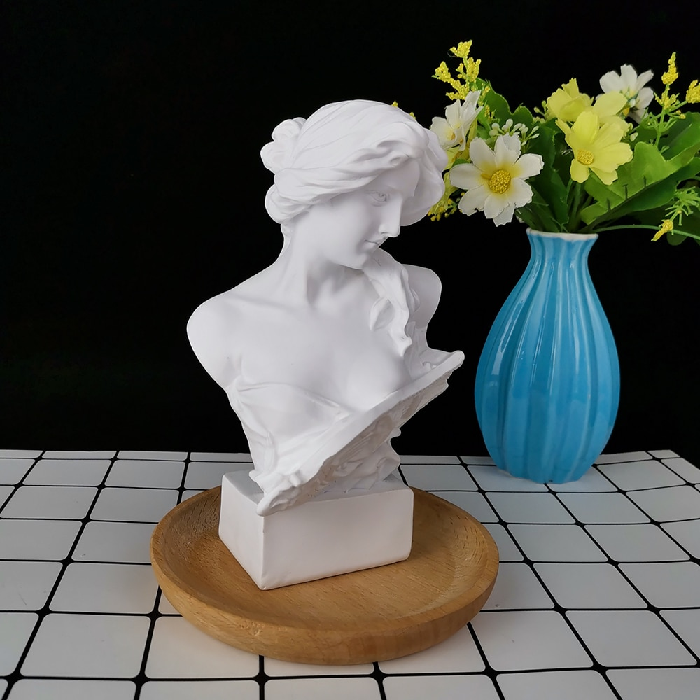 PRZY Portrait of Woman with Piano Candle Moulds Soap Woman Mold Silicone Large Size Plaster Statue Molds Clay Resin Moulds