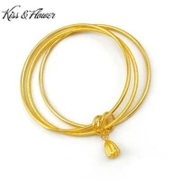 kissflower br40 fine jewelry wholesale fashion woman girl bridebirthday wedding gift lotus three life 24kt gold bracelet bangle