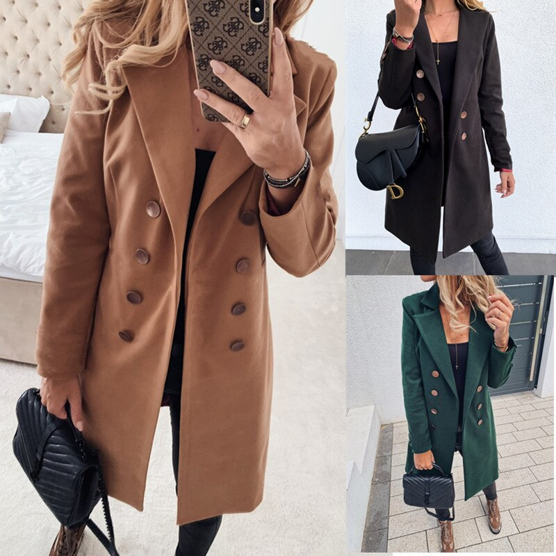 Chaquetas Parkas básicas de mujer 2020 casal chaquetas largas de lana Lisa abrigos femeninos abrigos de doble botonadura abrigos cálidos ropa de mujer prendas de vestir