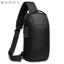 BANGE-Bolso de pecho antirrobo para hombre, cruzado morral resistente al agua, con carga USB, de viaje corto
