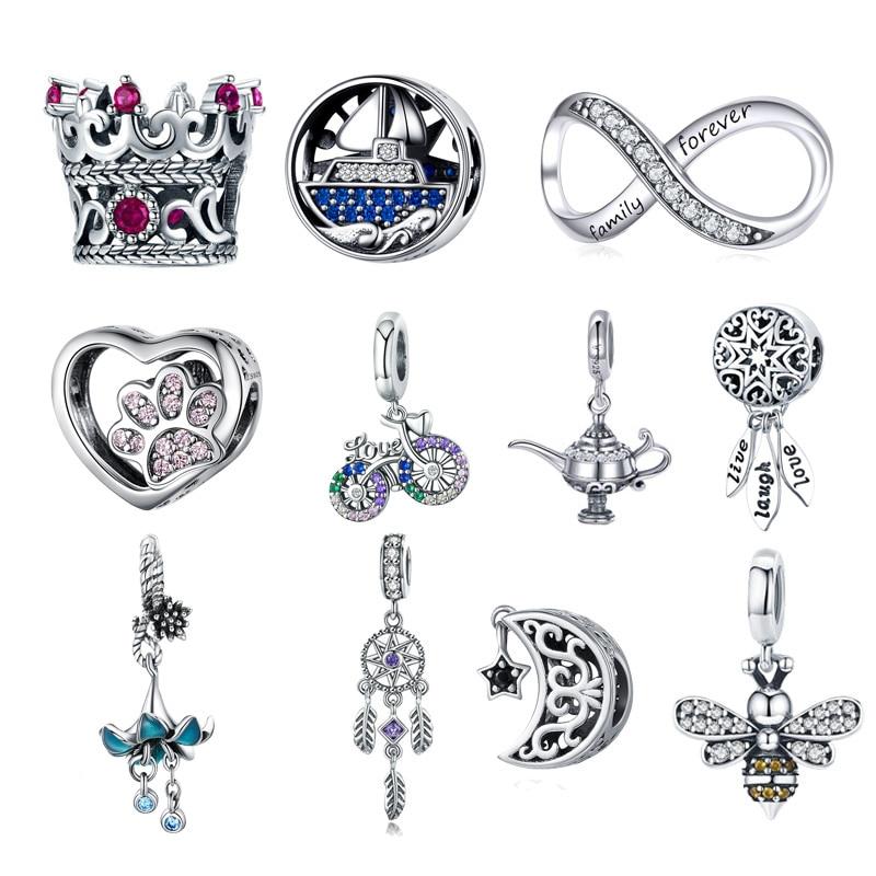 BISAER, хит продаж, 925 пробы, Серебряное сердце, звезда, принцесса, корона, бант, Ловец снов, амулеты, бусины, подходят для изготовления ювелирных изделий из серебра 925 пробы