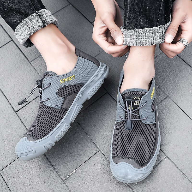 Plus Size Men Shoes Breathable Mesh Casual Sneakers Lace-up Lightweight Flats Zapatillas Hombre