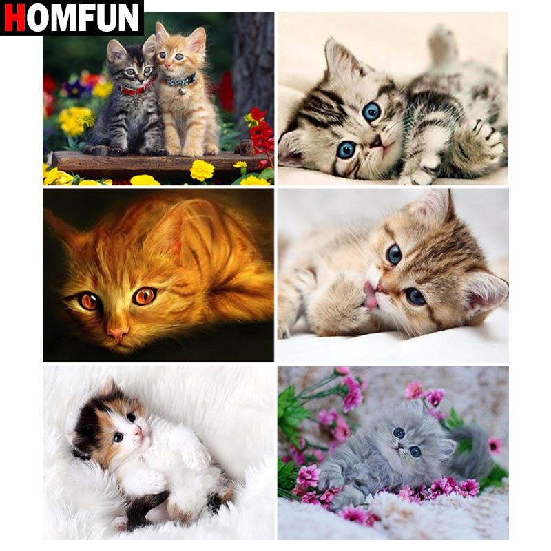 """Cuadro de diamantes HOMFUN cuadrado completo/redondo diamante """"Gatito gato animal"""" estampado de bordado punto de cruz 5D cuadro de diamantes de imitación"""