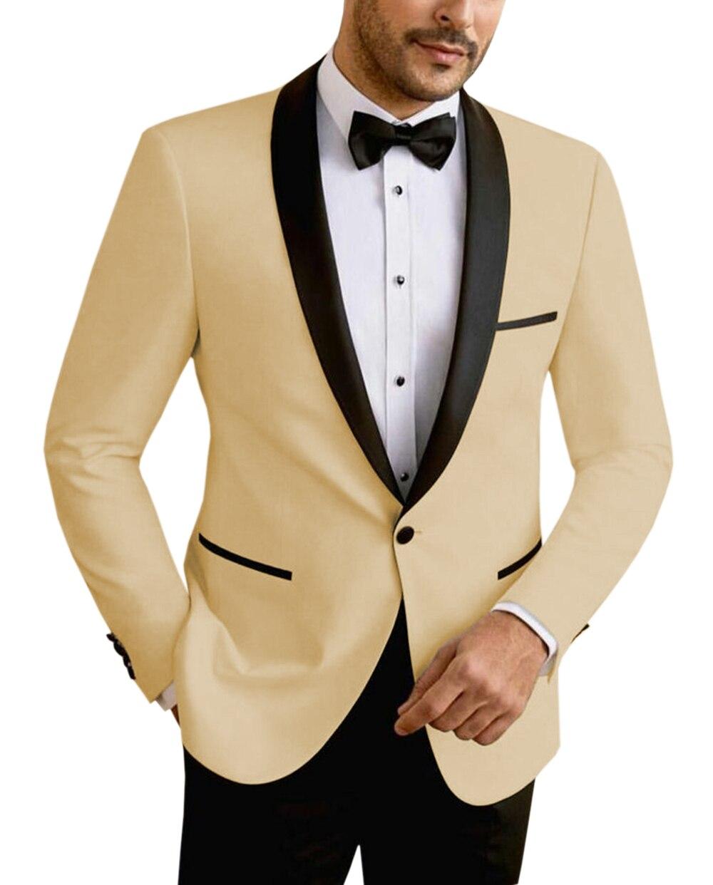 Beige/White/Champagne Mens Suits 2 Piece Leisure V Neck Shawl Lapel Groomsmen Tuxedos Men Suits for Wedding (Jacket+Pants)