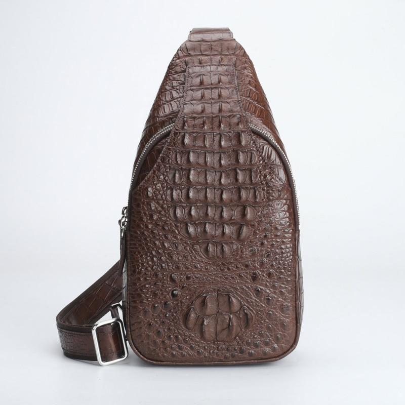 حقيبة صدر رجالية من جلد التمساح ، حقيبة كتف رجالية ، حقيبة رياضية خارجية ، حقيبة ظهر جلدية ترفيهية ذات سعة كبيرة