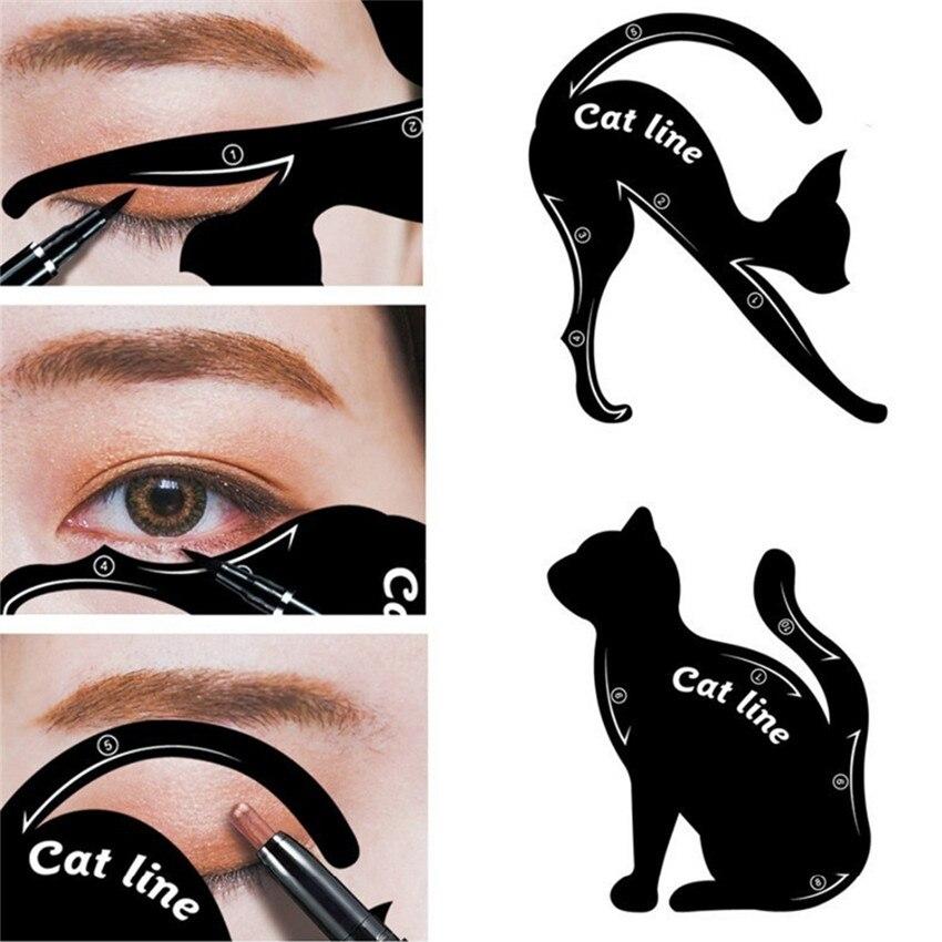 2Pcs/set Cat Eyeliner Eyebrow Stencils Models Multifunctional Makeup Eyeliner Stamps Eye Shadow Cat Line Models Makeup Tools