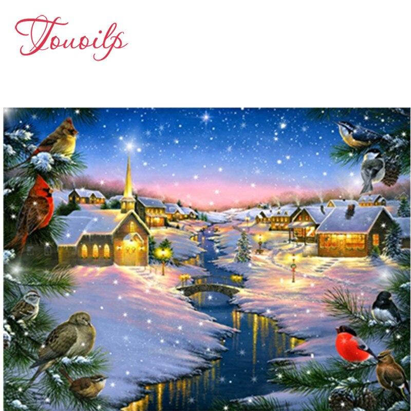 Invierno Navidad pueblo 5D Diy bordado Cruz Stitch diamante pintura Kits UK NA0236
