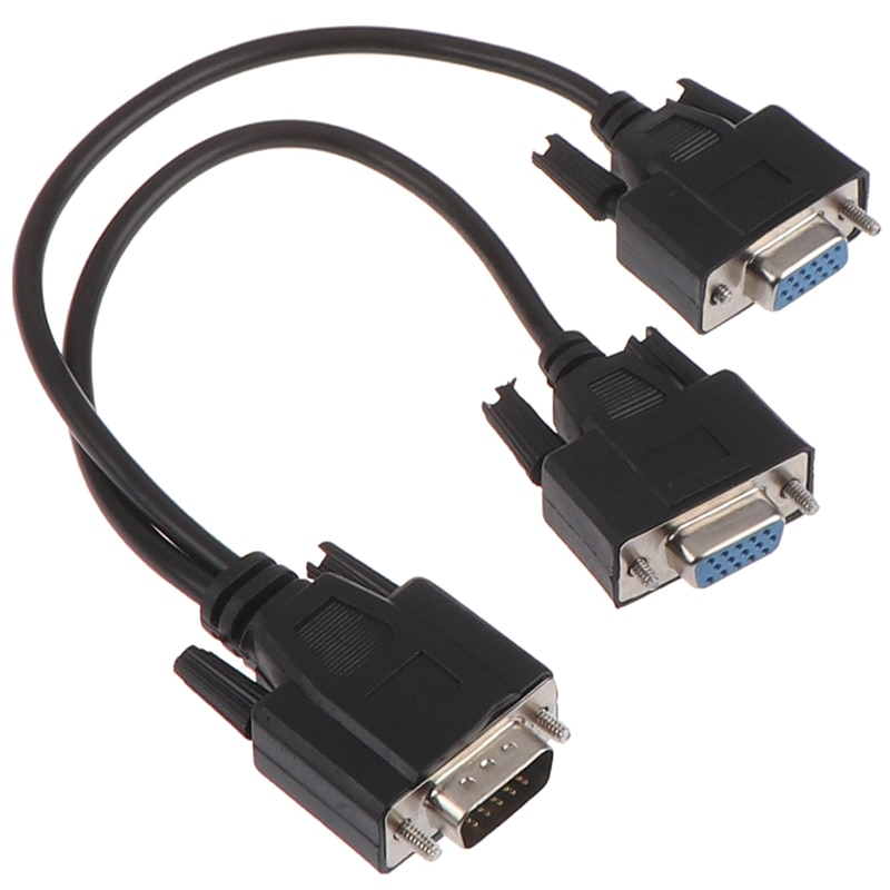 vga adapter vga male to female 15 pin vga svga right angle 90 degree audio video cable adapter connector for lcd monitor tv pc 1Pc 15Pin VGA Male To 2 Vga Svga Female Adapter Splitter Video Monitor Cable New