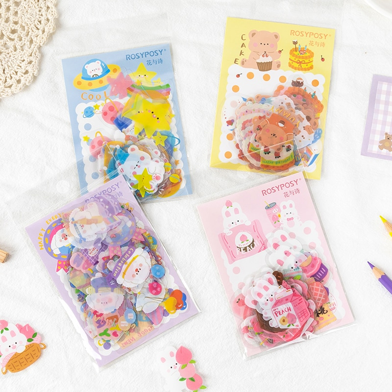 40pcs/lot Patterns Cute Stickers Little Bear rabbit Animals Decorative collage Scrapbooking Album Stick Label aesthetic Gift