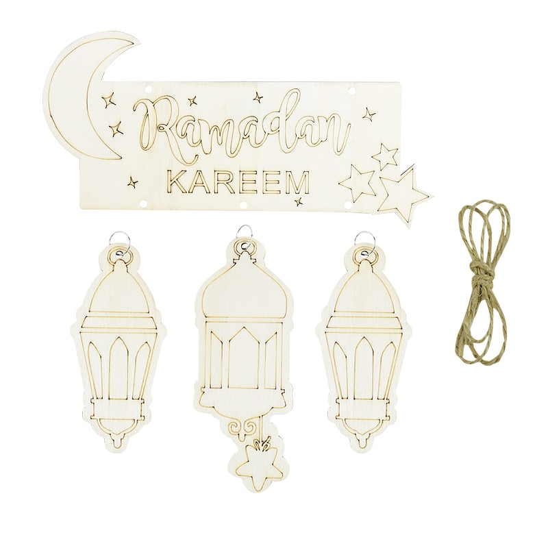 Rmadan lune en bois pendentif suspendu islamique musulman fête décor fournitures Ramadan moubarak maison cadeau faveur