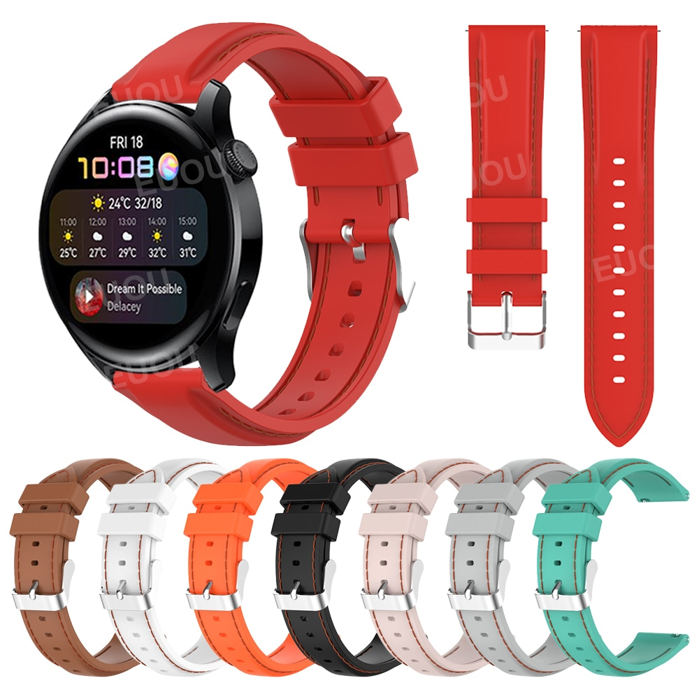 Suture Silicone Wrist Strap For HUAWEI WATCH 3 GT2 46mm/GT 2 Pro/HONOR MagicWatch 2/ES Band Bracelet Wristband Replace Watchband silicone leather watchband for huawei watch gt gt2 46 honor magic 2 46mm watch band wrist strap bracelet belt for ticwatch pro