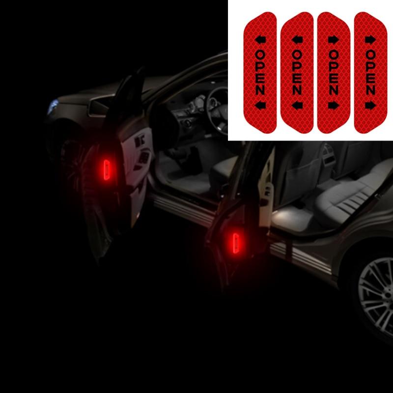 4 pçs marca de aviso segurança da porta do carro aberto reflexivo adesivos para renault koleos clio scenic megane duster sandero captur twingo