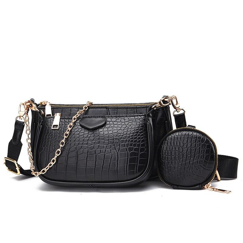 3 unids/set Bolsa lateral bolso de mano para mujer, nuevo bolso de hombro a la moda, funda de teléfono, bolso de compras pequeño de diseñador, bolso de cuero a la venta