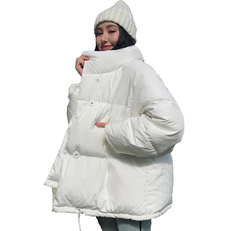 سترة نسائية شتوية كورية ، معطف قصير فضفاض كبير ، ياقة عالية ، أبيض وأسود ، 2021