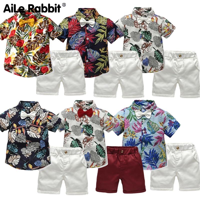 R & Z 2019 conjunto de camisa de manga corta para niños conjunto de 2 piezas cinturón para regalo verano explosión rompedora Caballero niño ropa de bebé