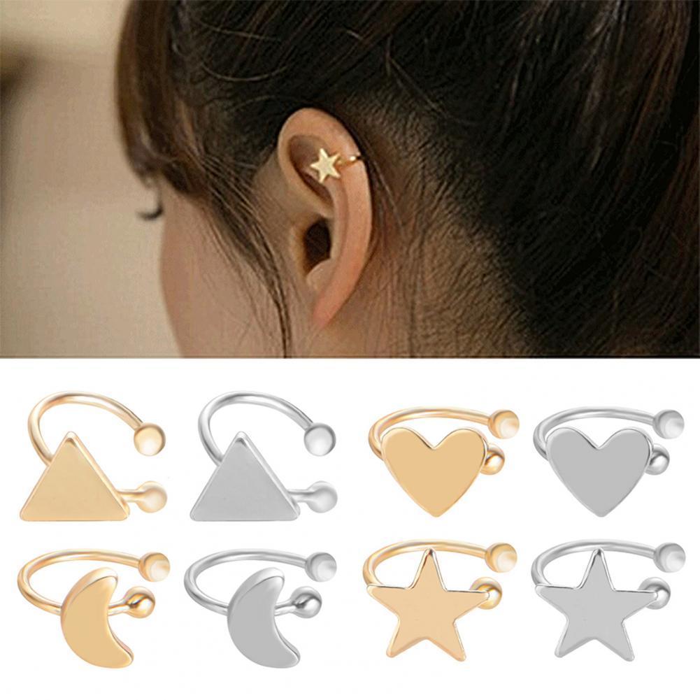80% heißer Verkauf Ohrringe Exquisite Nicht Durchbohrten Legierung Herz Stern Dreieck Mond Frauen Ohr Manschette Clip für Party