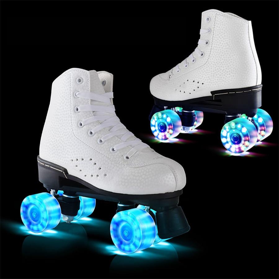 فلاش عجلة زلاجات دوارة مزدوجة خط الزلاجات النساء الإناث الكبار مع LED الإضاءة بولي PU 4 عجلات اثنين خط أحذية التزلج Patines