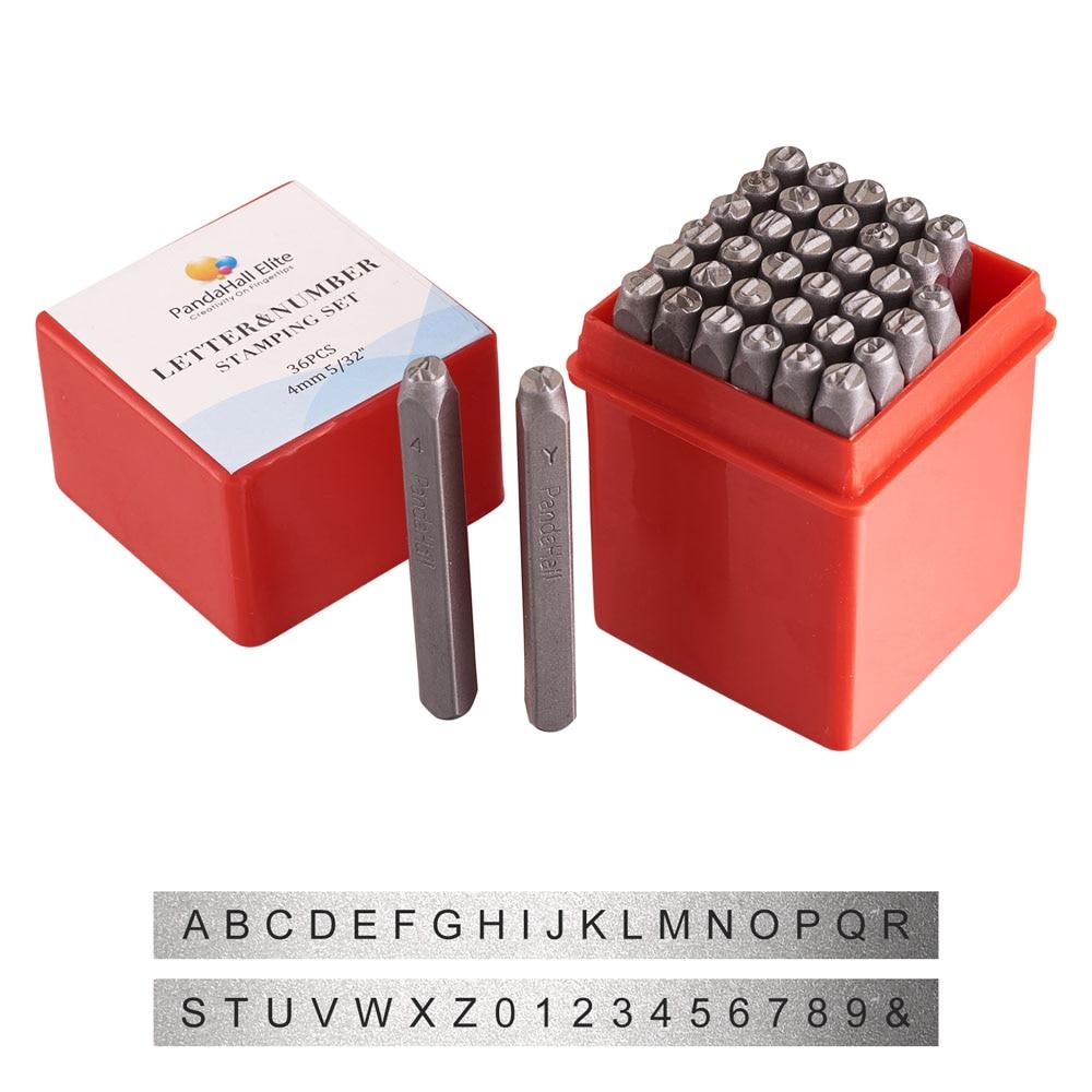 Bandahall 36 قطعة/صندوق الأسود الحديد رسالة الأبجدية A-Z وعدد 0 ~ 8 ختم مجموعة الطوابع للتعليم اللعب صنع المجوهرات أداة