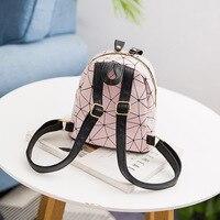 Women Backpack Diamond Lattice PU Leather Mini Backpack Fashion Female School Bags Girl Daily Geometry Travel Bag