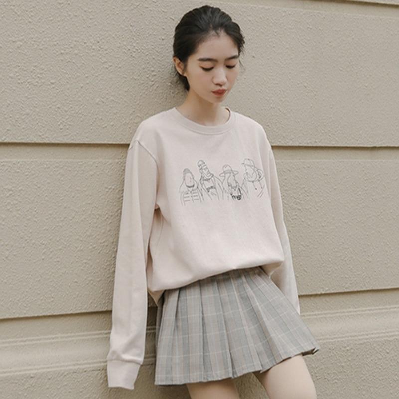 Autumn Korean Version Of The Strange Smell Girl Print Allmatch Kpop Ropa De Mujer Kawaii Hoodie Pastel Clothes Allmatch Printing