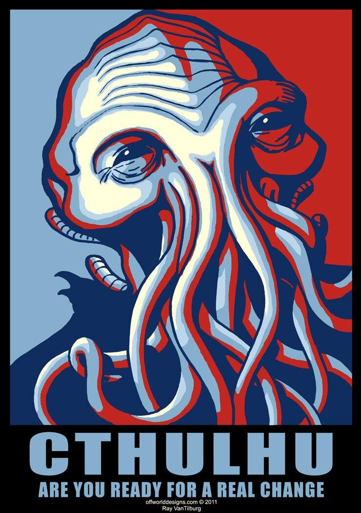 T-Shirt Cthulhu para o Cartaz da Campanha do Presidente HP Lovecraft OffWorld Projetos