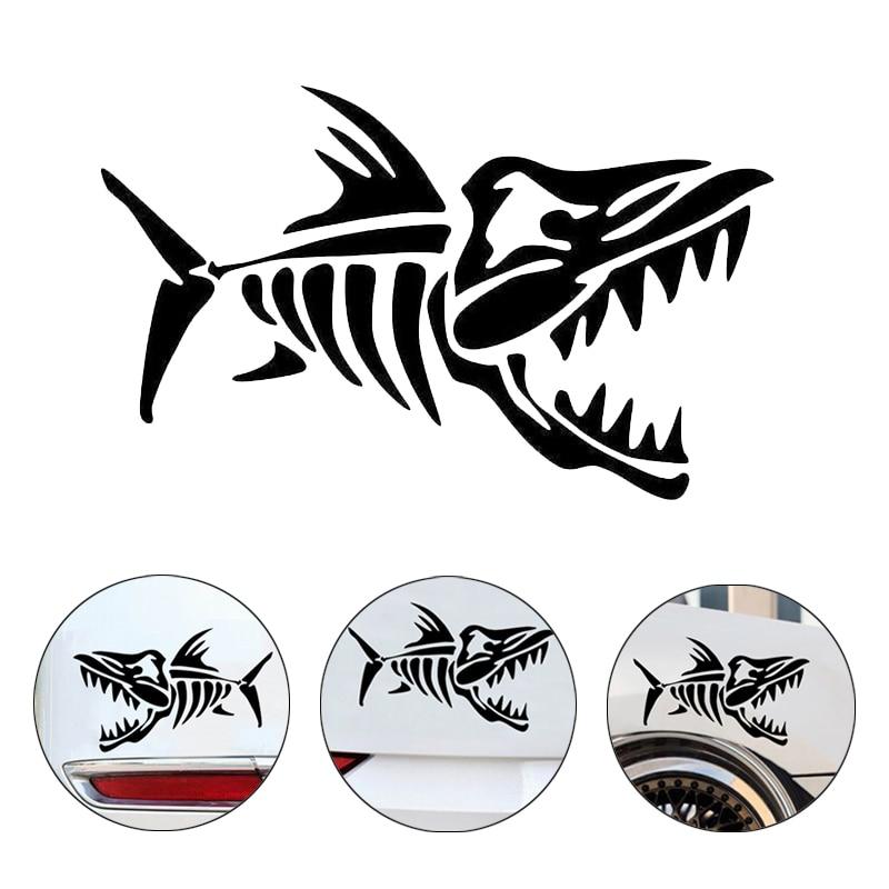 11x7cm huesos de pescado divertida Calcomanía para Auto etiqueta coche accesorios extraíble impermeable cinta de advertencia para la decoración de coche