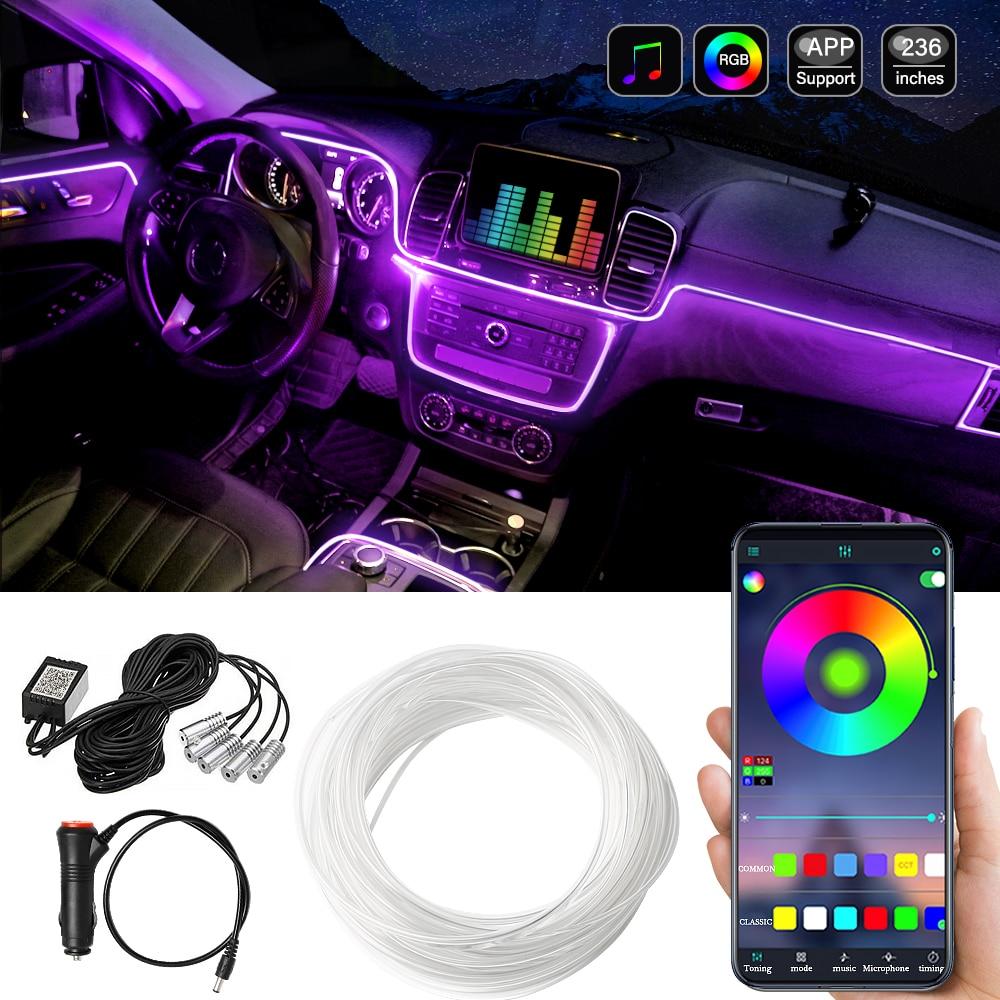 Bluetooth Auto Flexible Lamps Car Atmosphere Light Ambient Interior Decoration App Sound Control Wir