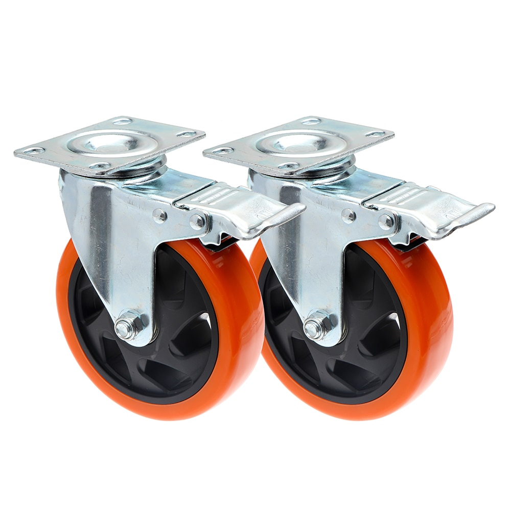 1 قطعة 4 / 5 بوصة عجلات قطع الأثاث ث/الفرامل لينة المطاط دوارة العجلات الدوارة ل الثقيلة آلة منصة عربة