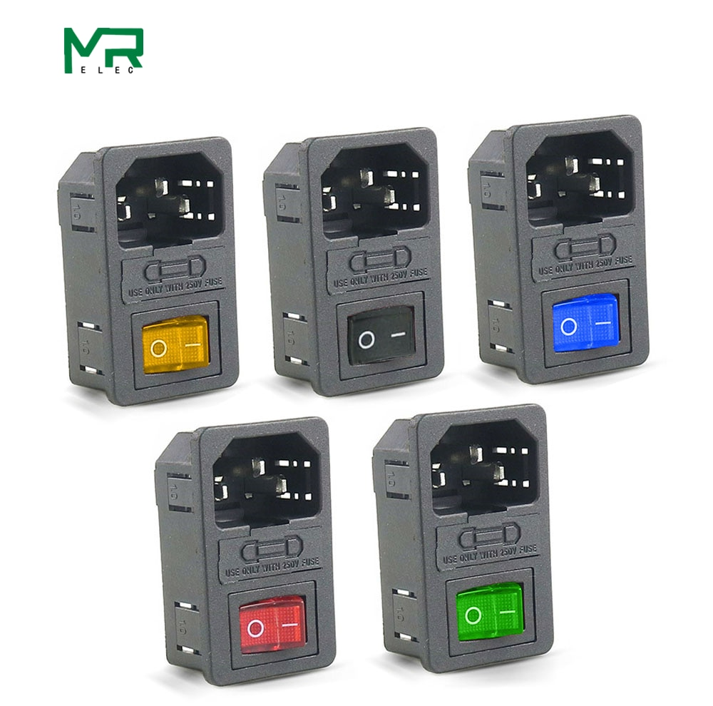 ¡Entrega gratuita! IEC320 C14 con fusible 10A Interruptor basculante con fusible interruptor de alimentación hembra interruptor de fusible de equipos eléctricos