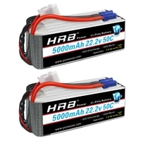 2pcs hrb 6s lipo battery 22 2v 5000mah ec5 connector 50c for rc drone trex 700 800e tarot 650 quadcopter helicopter car boat