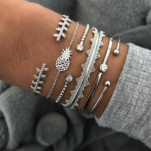 Miss JQ 6 pièces/ensemble Punk Bracelets ensemble Vintage argent ananas feuilles ouvert manchette bracelet pour femmes mode fête bijoux accessoires
