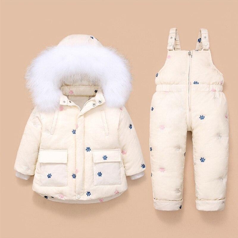 Зимняя куртка, комбинезон для маленьких девочек, пуховое пальто, штаны, комплект детской одежды, детская Новогодняя парка с капюшоном для детей 1-3 лет