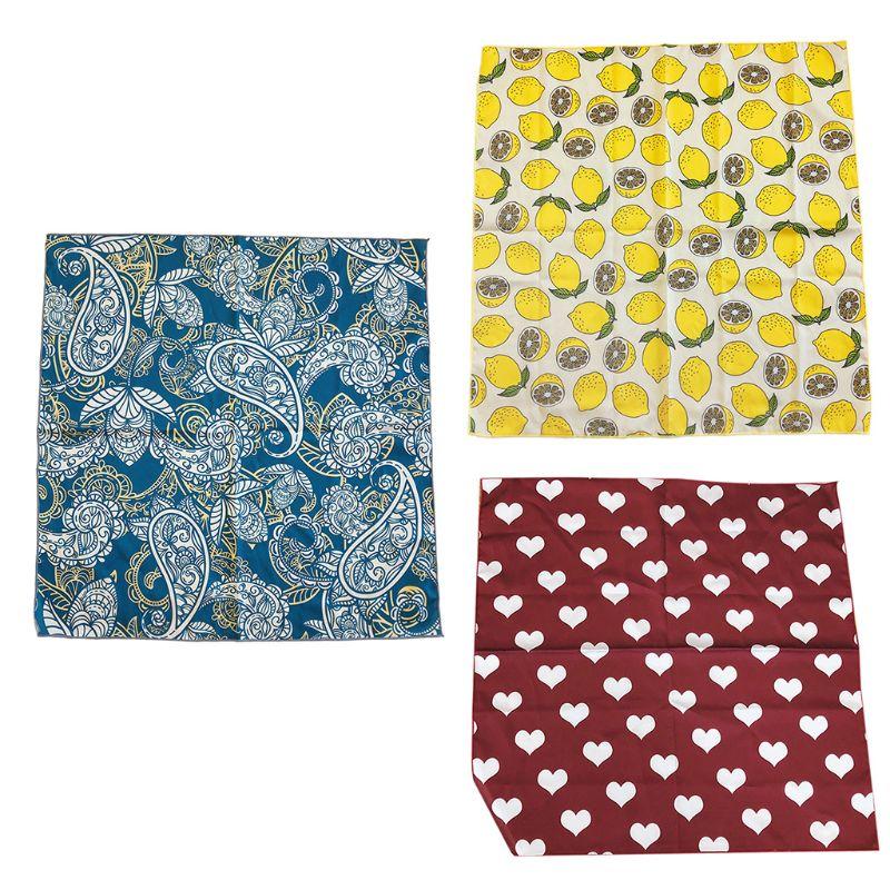 Bufanda cuadrada de imitación de seda con estampado de corazón de limón brillante pañuelo bufanda pañoleta para mujer