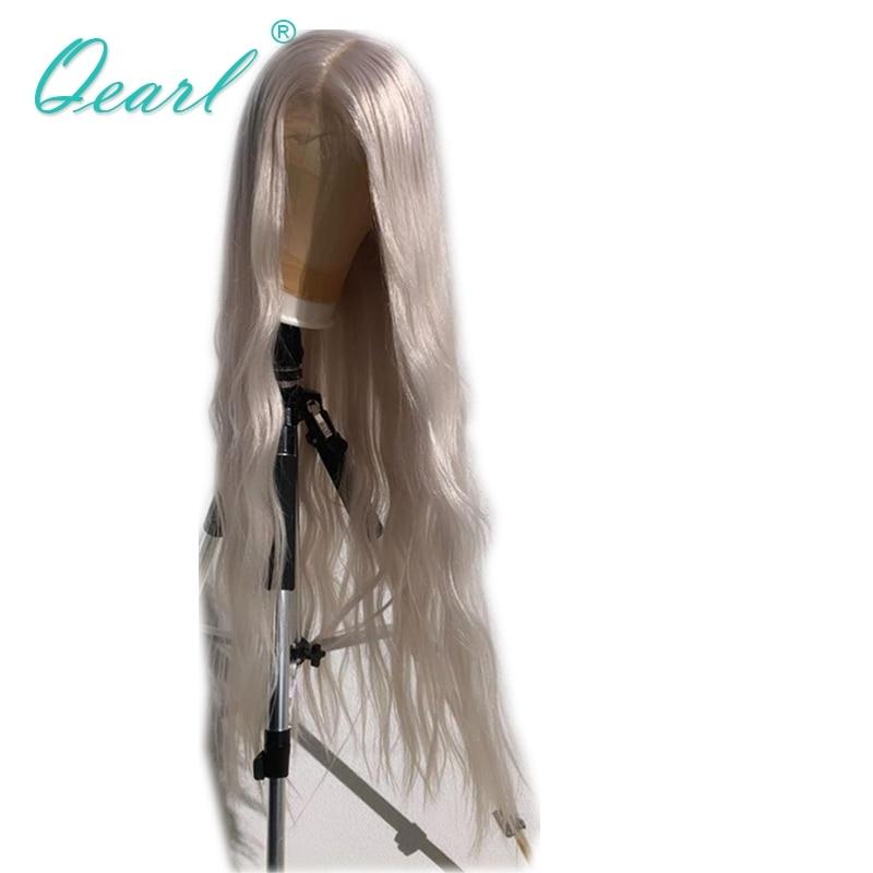 "Human Hair Lace Wig Transparent Blonde White Color Natural Wave 24""26""28"" Long Lace Front Wig 13x4 Brazilian Remy Hair Qearl"