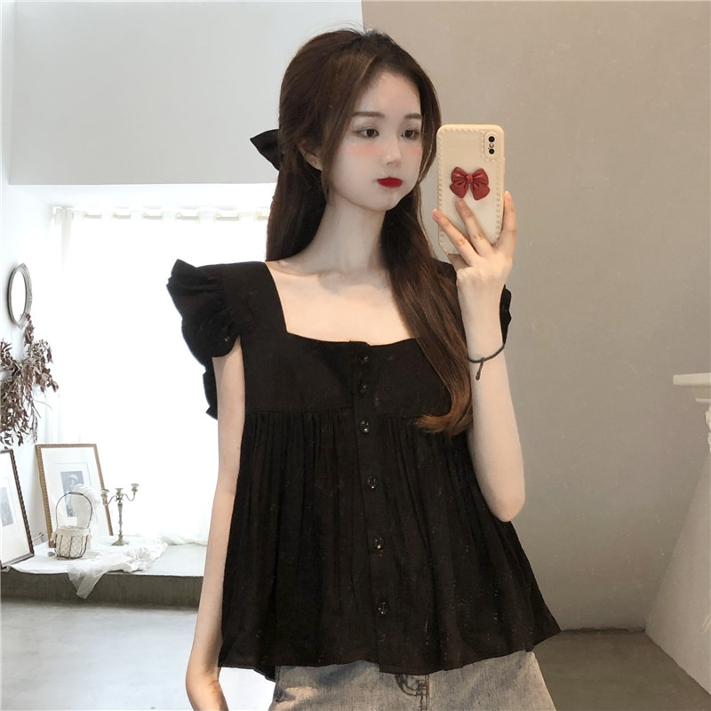 Collar Baby Shirt Summer Dress 2021 New Korean Version Cute Reduction and Slim Dress Woman