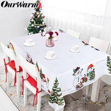 Nuestro cálido mantel de Navidad impermeable hombre de nieve y pino árbol Rectangular mantel cubierta Año Nuevo invierno decoraciones para el hogar