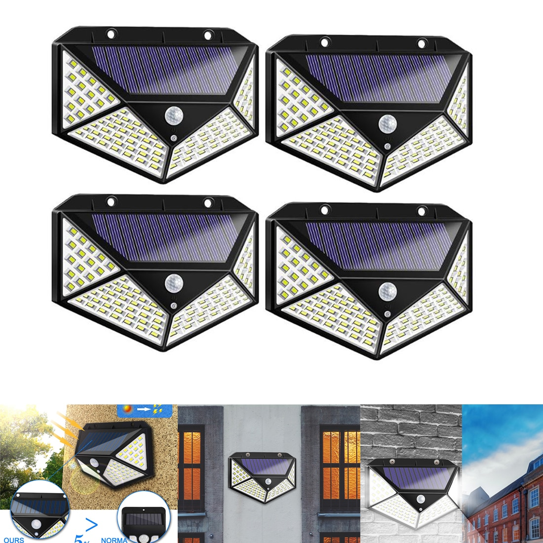 100/144 LED Luz de energía Solar 3 modos 120 grados sensor de movimiento lámpara de pared angular impermeable jardín al aire libre lámparas
