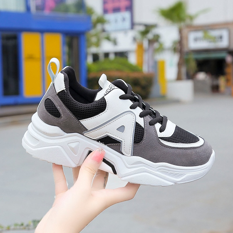 New Black White Old Dad Shoes Women Ins Tide Korean Version of Ulzzang Students Thick Bottom Walking Shoes Old Skool Hip Hop