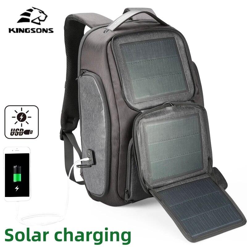 Kingsons-Mochila Solar mejorada para hombre, morral de viaje con carga rápida USB, para ordenador portátil de 15,6 pulgadas